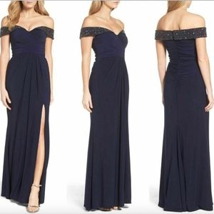 NEW $218 XSCAPE Off the Shoulder Beaded Gown Navy
